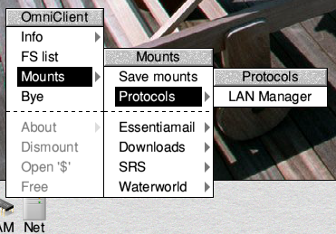 The OmniClient/LanMan menu path